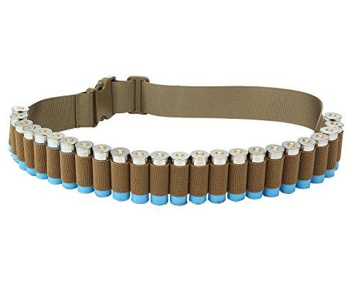 Patronengürtel für Schrotflinte, Munitionsgürtel, Bandolier-Gürtel, für taktische Jagd (26 Kugeln, 120 x 5 cm), Herren, khaki