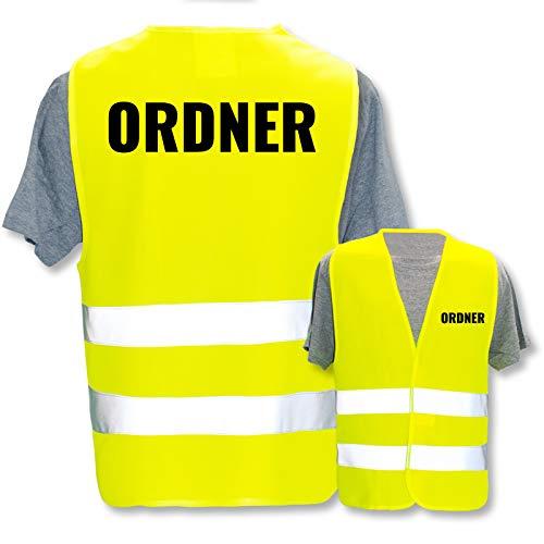 Bedruckte Warnwesten mit ISO-Leuchtstreifen * Standard- oder Reflex-Druck * Thema Sicherheit & Team, Warnweste Begriffe Security:Ordner, Farbe + Größe:Gelb (XL/XXL)