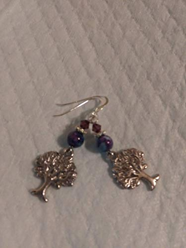 Purple and Blue Ocean jade and Sterling silver pierced earrings with Tree of Life charms