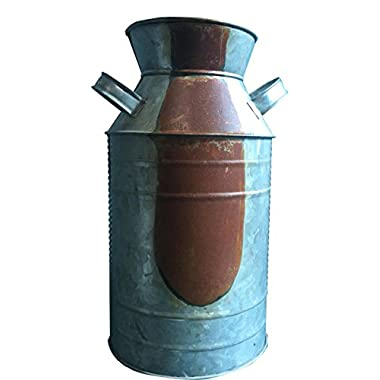 CWI Gifts Milk Can, Galvanized Finish - Country Rustic Primitive Jug Vase by H.S, 10-3/4  L