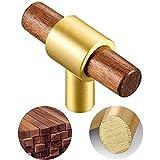 RZDEAL 4Pack Brass Wood Drawers Knobs 2-1/4' Kitchen Cabinet Knobs Dresser Knobs and Pulls Bedroom Door Funiture Hardware Handles