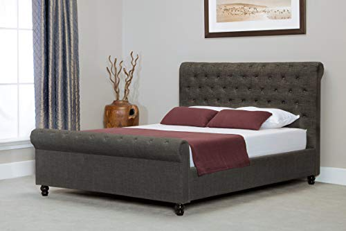 Sky Furniture Sleigh Button Ottoman Side Gas Lifting Storage Bed, Grey, 6 ft (Super King)