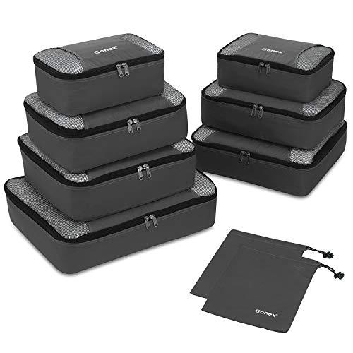 Packing Cubes 9-teilig, 2 zusätzliche Beutel, Kleine, mittelgroße, große und 1 größere Kleidertasche, dunkelgrau