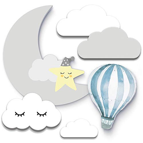 6er Himmelset Blau - Weiß 3D-Wanddeko Wolken Mond und Ballon (19x10cm) für Babyzimmer - Hartschaum (blau weiß)