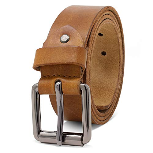 ROYALZ Ledergürtel Herren aus robusten 4mm Büffel-Leder, Vintage Jeans-Herren-Gürtel mit Dornenschließe Voll-Leder 38mm, Farbe:Braun, Größe:100