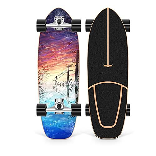 XKAI 75×23cm Tabla Completa Surfskate Tabla de Pumping para Principiantes Monopatin Deck de Madera de Arce Longboard ABEC-11 Rodamientos de Bolas CX4 Fancy Board