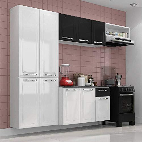 Cozinha Compacta 4 Peças 10 Portas Branco E Preto Amanda Itatiaia