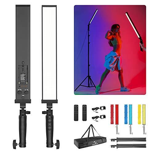 ONSEKO 21W 210 LED Kit de Iluminación para Fotografía 3200-5600K Varita de Luz de Iluminación de Estudio LED Regulable con Soportes y Filtros de Color y Bolsa (Batería No Incluida)