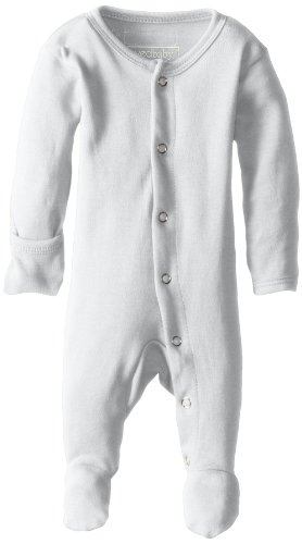 L'ovedbaby Unisex-Baby Organic Cotton Footed Overall, White, 0/3 Months