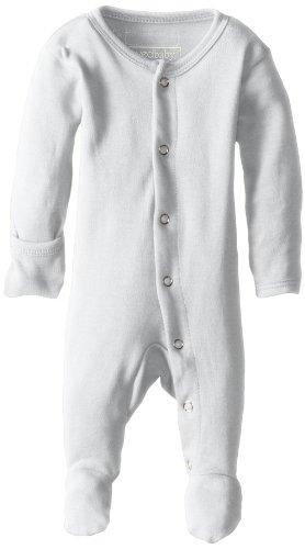 L'ovedbaby - Mono Unisex con pies de algodón orgánico, Blanco, 0-3 Meses