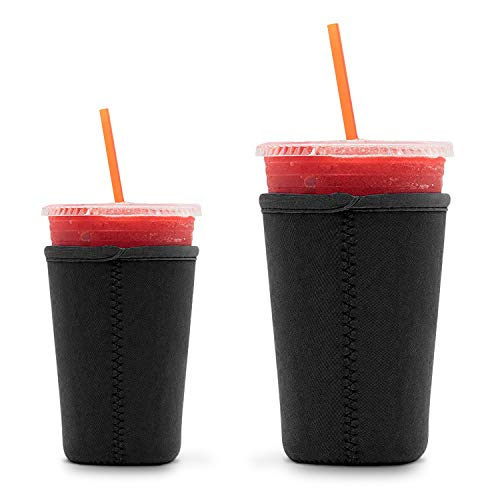 SA Iced Coffee Cup Sleeve BLACK (2 Pack, S&M) - Reusable and Insulated Neoprene Cup Holder for Beverages