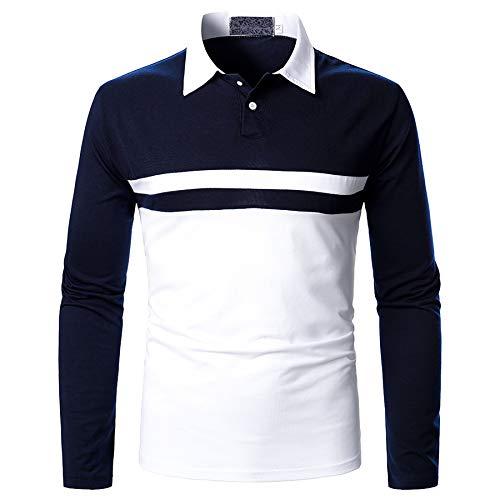Derrick Aled(k) zhuke Polo De Dos Colores con Solapa De OtoñO para Hombre Camiseta De Manga Larga Tops De Costura Casual De Calle A Juego