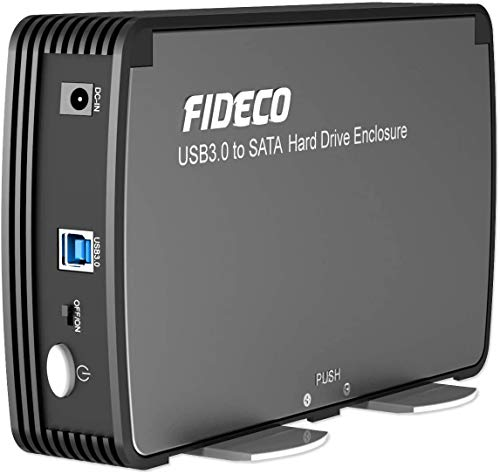 FIDECO 3.5/2.5-Inch Hard Drive Enclosure Case with Fan, USB 3.0 to SATA Hard Drive for HDD Enclosure & SSD External Hard Drive Case Support 16TB with UASP