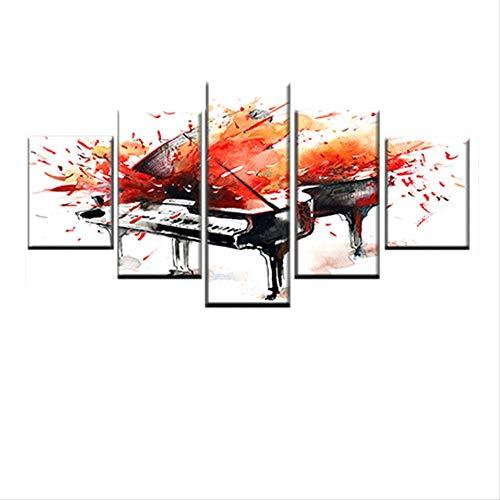 DGGDVP Modern Scandinavisch poster 5 stuks graffiti-muziek piano canvas HD-druk abstracte muurkunst afbeelding woonkamer decoratie 30x40cmx2 30x60cmx2 30x80cmx1 Met frame.