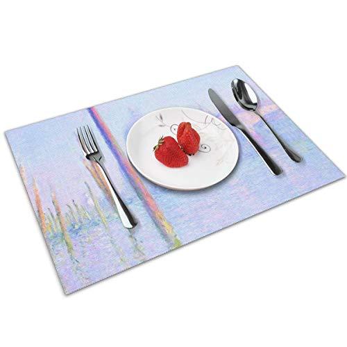 Genertic - Set di 4 tovagliette antiscivolo per tavolo da pranzo Claude Monet Impressionism Venezia Grand Canal, lavabili e facili da pulire, 30 x 45 cm, rettangolari, resistenti alle macchie