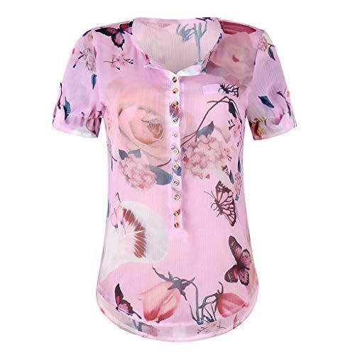 TWIFER Tops Damen Sommer Plus Size Chiffon Blumendruck Kurzarm Bluse Pullover Blusenshirt Shirt mit Taste