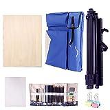Caballetes de Dibujo Correas de Hombro Impermeables y sucias Mochila de Arte Grande Bolsillo Plegable de Arte Profesional Maletín (Color : Blue, Size : Easel Set)