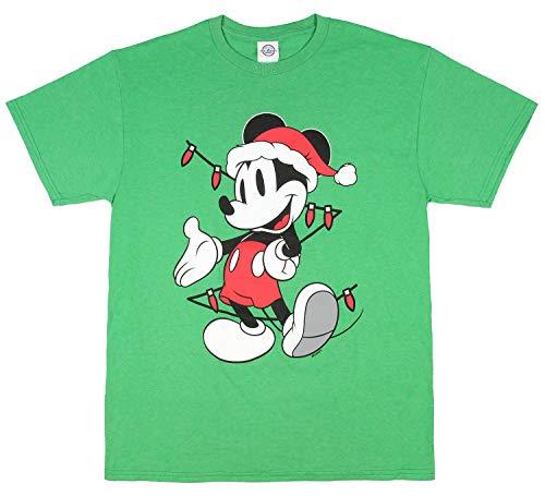Disney Mens Mickey Mouse Christmas Tree Lights T-Shirt (X-Large)