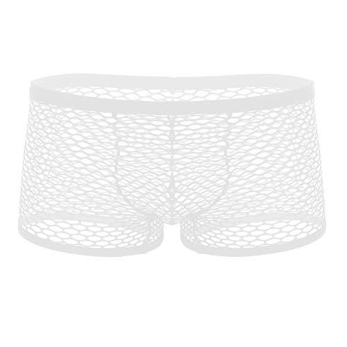 iEFiEL Herren Netz Boxershort Transparent Unterwäsche Mesh Unterhosen Bikini Slips Briefs Shorts Pants Reizwäsche Dessous Schwarz Weiß Weiß Medium