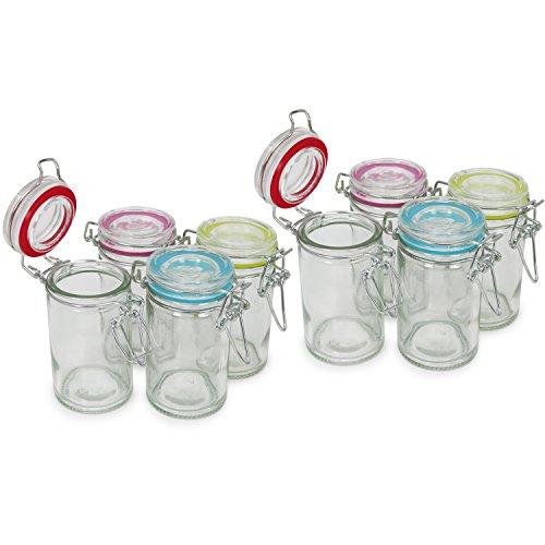 COM-FOUR® 8x bocal Mason avec fermeture à clip - boîte avec anneau en caoutchouc de différentes couleurs à 60 ml (08 pièces - 60 ml)