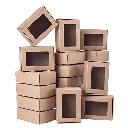 BENECREAT 30 Packungen Brown Kraft Paper Boxes mit durchsichtigen Fenstern 8,5 x 6 x 3 cm für Partybevorzugungen, Backwaren und Schmuckverpackungen