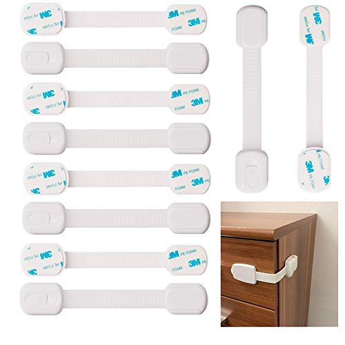 YANGJI 10 Stück Babysicherung Schloss,Kindersicherung Schubladensicherung,Schubladensicherung ohne bohren, Mit 3M Kleber, für Schränke, Schubladen, Backofen, Kühlschrank, Toilettensitz.