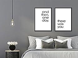 artissimo, Posterset mit Rahmen, Set Spruchbilder gerahmt, 2 Stück je 51x71cm, PE6225-ER, and Then, one Day, There was You, Bild, Wandbild, Wanddekoration, Poster mit Spruch, Typographie, Typografie