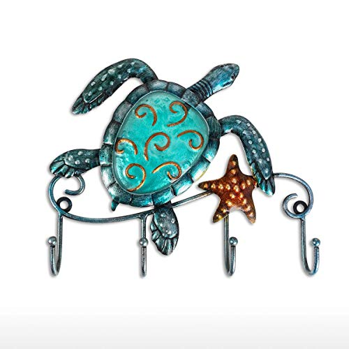 Tooarts Wall Mounted Key Holder Turtle Wall Hooks Iron Key Hook Rustic Wall Decorative Hook Living Room Bathroom Ornament