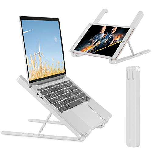 NUOMIC Laptopständer Faltbar, Tragbarer Notebook Ständer, 5-Stufiger Laptopständer Höhenverstellbar für MacBook/IPad/Tablet/Laptop&9.7-17 Zoll (Weiß)