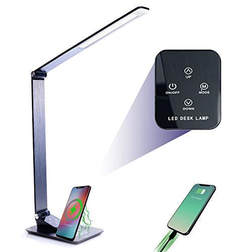 Serra Schreibtischlampe LED mit QI Wireless Charger - Touch Control Tischlampe Bürolampe - Tischleuchte 5 Farbtemperaturen und 5 Helligkeitsstufen - Induktion Ladestation Tischlampe mit USB Anschluss