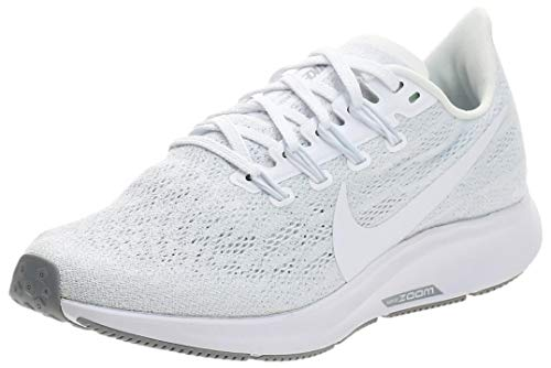 Nike Air Zoom Pegasus 36, Zapatillas de Correr Mujer, Blanco (White/White/Half Blue/Wolf Grey 100), 41 EU