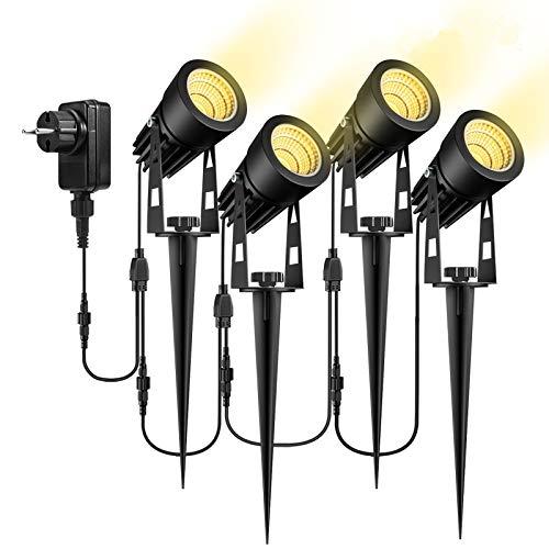 Gartenleuchte mit Erdspieß, GreenClick 4er Set 3W COB Gartenbeleuchtung mit Strom IP65 Wasserdicht Warmweiß Gartenlampe Gartenlicht Wegbeleuchtung Gartenstrahler für Außen [Energieklasse A+++]