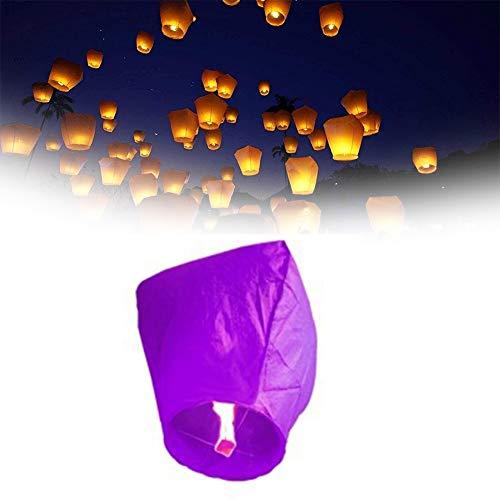 10 Pack Linternas de Papel Farolillo celestiales Chinas, Linterna de Papel Resistente al Fuego, 100% Biodegradable, respetuosa con el Medio Ambiente y ecológica para su Lanzamiento en Sky,Púrpura