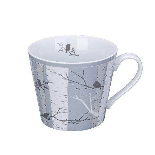 Krasilnikoff - Happy Cup - Becher, Tasse mit Henkel - Winter Birch, Winterbirken - Porzellan - H9 x Ø10 cm - Volumen: 400 ml