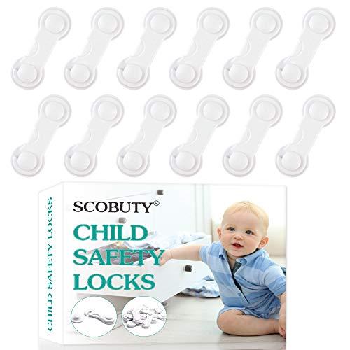 Cerraduras de Seguridad para Niños,Cierre Seguridad Cajones Bebe,Bloqueo para Niños,Cerraduras a Prueba de Bebé,Se Puede Utilizar en Refrigeradores,Lavavajillas,Armarios(12 piezas)