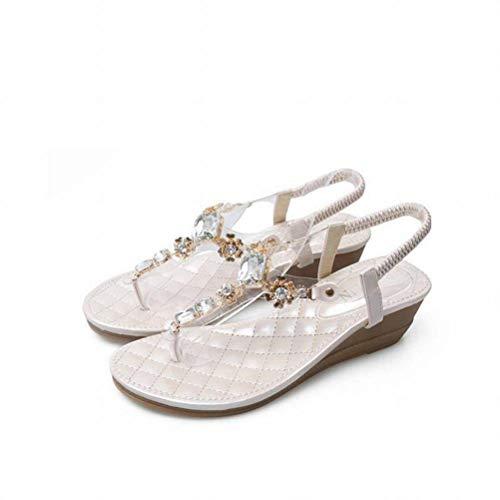 Women Sandals Occasionnels Sandales Simples Strass Open Toe Bohème Femmes, Apricot, 37