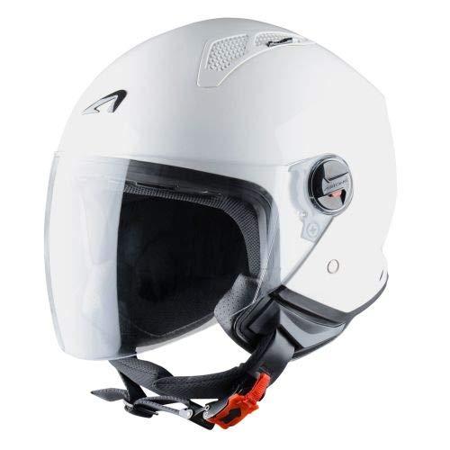 Astone Helmets - MINIJET monocolor - Casque jet - Casque jet urbain - Casque moto et scooter compact - Coque en polycarbonate -White Gloss XS