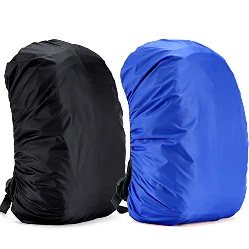 Funda Impermeable para Mochila,2 Pcs Cubre Mochila Lluvia,30~65L Cubierta de Bolsa Bolso Protector de Lluvia para Camping Senderismo Excursionismo, 40L-50L (Negro y Azul)