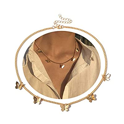 Dainty Butterfly Necklace for Women 18K Gold Choker Necklaces Butterfly Choker for Wife Girlfriend Friends Gifts