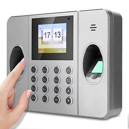 Biometrischer Fingerabdruck Passwort Anwesenheits Maschine, TCP/IP Mitarbeiter Check-in Recorder LCD-Bildschirm schwarz, DC 5V Zeiterfassung Uhr(EU)