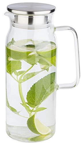 APS Glaskaraffe für Wasser und Limonade, Glasbehälter (Ø x H): 10 x 26 cm mit Edelstahldeckel und Doppelfunktion, Ausgießer mit integriertem Sieb, 1,5 Liter
