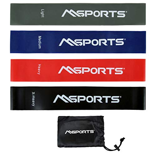 MSPORTS Fitnessband 4er Set mit Tragetasche - Leicht   Medium   Stark   Extra Stark - Fitnessband Trainingsband Gymnastikband