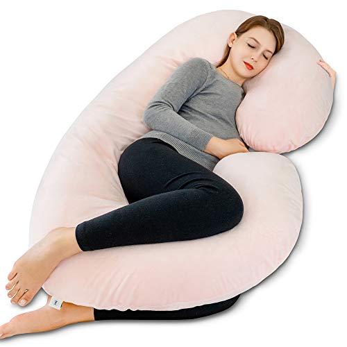 INSEN Pregnancy Pillow,Full Body Pillow,C Shaped Maternity Body Pillow with Velvet Cover (Pink Velvet)