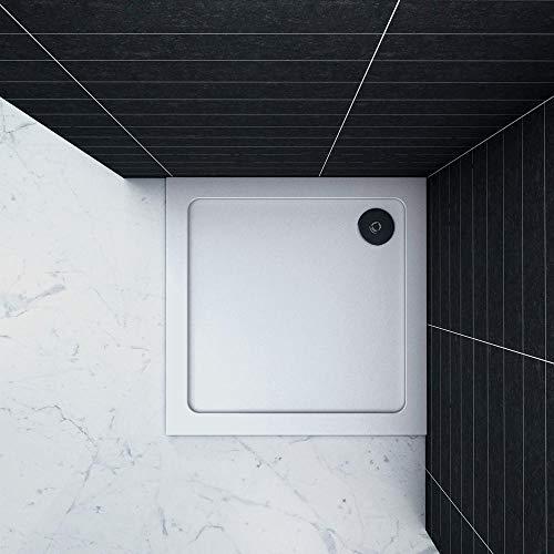 Piatto Doccia Quadrato in pietra artificiale rivestito gel coat Ultra Slim da 3cm Bianco Lucido Antiscivolo Antibatterico 70x70cm