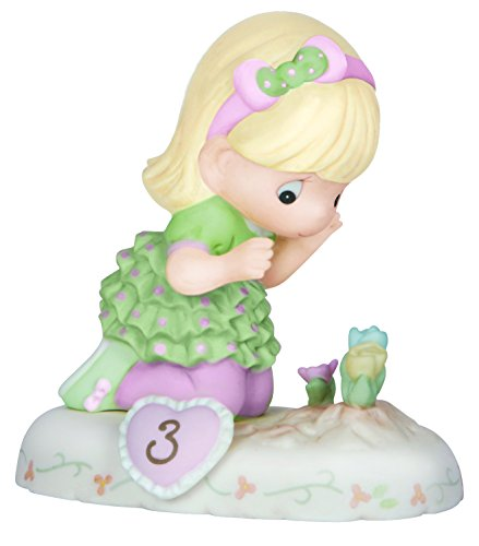 Precious Moments, Growing In Grace, Age 3, Bisque Porcelain Figurine, Blonde Girl, 142012