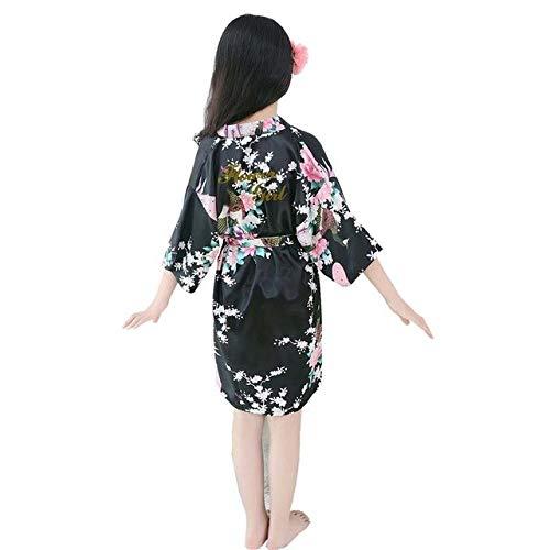 Baby Kinder Mädchen Roben Peignoir Kind Blumen Mädchen Seide Satin Kimono Roben Bademantel Nachtwäsche Pyjama Kleidung-Black-4-2T