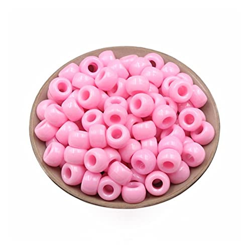 TTCI-RR Abalorios Cuentas Redondas de Color sólido de 500 Piezas de acrílico con Cuentas de Color sólido plástico Bricolaje Accesorios Ropa Perlas Sueltas Agujero Grande Redondo Beads DIY