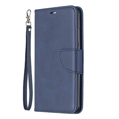 Lomogo Huawei Y7 / Y7 Prime Hülle Leder, Schutzhülle Brieftasche mit Kartenfach Klappbar Magnetverschluss Stoßfest Kratzfest Handyhülle Case für Huawei Y7 / Y7 Prime - LOBFE150413 Blau
