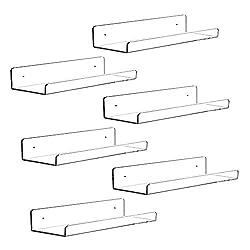 6 clear acrylic wall shelves
