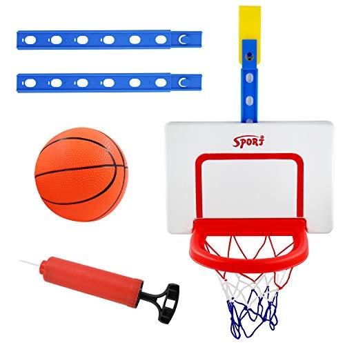 PHYLES Canasta de baloncesto para habitaciones, mini canasta de baloncesto con red y pelotas, juguete deportivo para interior, para colgar en la puerta, sin necesidad de taladrar